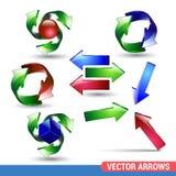 комплект серии зеленой иконы стрелки красный Вектор на белой предпосылке реалистическая иллюстрация символа стрелки собрания лосн Стоковая Фотография