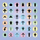 комплект серии зеленой иконы стрелки красный Конструкция стрелки Стрелка Стоковое Изображение