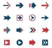 комплект серии зеленой иконы стрелки красный Стоковые Фото