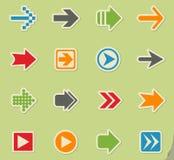 комплект серии зеленой иконы стрелки красный Стоковое Изображение