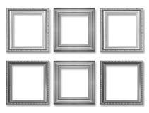Комплект серой винтажной рамки изолированной на белизне Стоковые Изображения