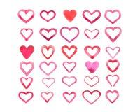 Комплект сердец акварели изолированных на белой предпосылке Стоковое Фото