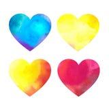Комплект сердец акварели на белой предпосылке Стоковая Фотография RF