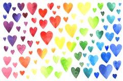 Комплект сердец акварели Стоковое Изображение RF