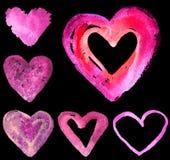 Комплект сердец акварели Стоковая Фотография