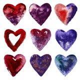 Комплект сердец акварели Стоковые Фотографии RF