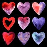 Комплект сердец акварели Стоковое фото RF