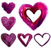 Комплект сердец акварели Стоковое Изображение