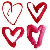 Комплект сердец акварели Стоковая Фотография RF