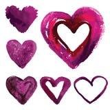 Комплект сердец акварели Стоковое Фото
