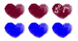 Комплект сердец валентинок для таможни одушевляя с голубым Chromakey иллюстрация вектора