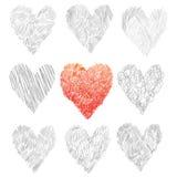 Комплект сердец вектора, нарисованная рука Стоковое Изображение RF