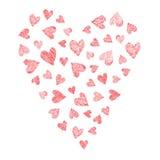 Комплект сердец вектора, нарисованная рука Стоковые Изображения