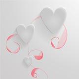 Комплект сердец вектора сделанных из стекла Стоковые Фото