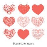 Комплект 9 сердец восковки для дизайна иллюстрация вектора