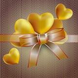 Комплект сердец золота иллюстрация вектора