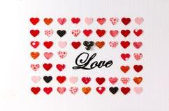 Комплект сердец и влюбленности слова Стоковая Фотография