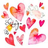 Комплект сердец и купидонов вектор Валентайн иллюстрации дня пар любящий Сердце акварели Стоковые Изображения