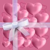 Комплект сердец на розовой предпосылке иллюстрация штока
