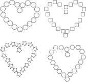 Комплект сердец черно-белых Стоковые Изображения