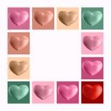 Комплект сердец 3d на светлой предпосылке Стоковое Изображение