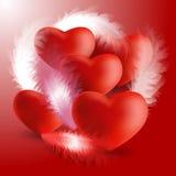 Комплект сердец 3d с пером бесплатная иллюстрация