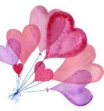 Комплект сердца акварели Стоковые Фотографии RF