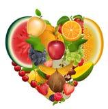 Комплект сердца формы плодоовощ Здоровое яблоко еды, виноградины, дыня, арбуз, ягода, поленика, клубника, сладостная вишня иллюстрация штока