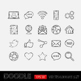 Комплект сети Doodle социальный Стоковая Фотография