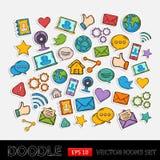 Комплект сети Doodle социальный Стоковые Изображения RF