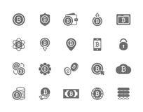 Комплект символа или значка bitcoin вектора Вклады, оплаты и обмен, банк интернета, бумажник, пачка денег иллюстрация штока