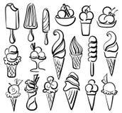 Комплект символа мороженого Стоковое Изображение