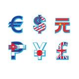 Комплект символов валюты с флагом Стоковые Изображения RF