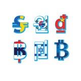 Комплект символов валюты с флагом Стоковые Фотографии RF