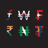 Комплект символов валюты с флагом Стоковая Фотография
