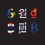 Комплект символов валюты с флагом Стоковые Изображения