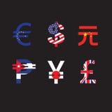 Комплект символов валюты с флагом Стоковые Фото