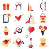 Комплект символов влюбленности иллюстрация вектора