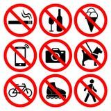Комплект символов запрета иллюстрация штока