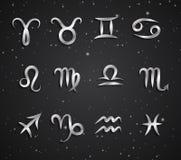 Комплект символов зодиака чертежа руки Стоковое Фото