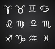 Комплект символов зодиака чертежа руки Стоковое Изображение