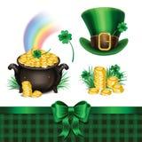 Комплект символов дня St. Patrick, комплект значков дня St. Patrick Стоковые Фото