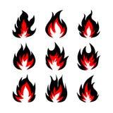Комплект символов огня, иллюстрация вектора Стоковое фото RF