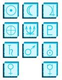 Комплект символов планет на абстрактных предпосылках Стоковая Фотография
