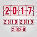 комплект 2017 2018 2019 2020 символов сальто Знаки табло красные и серые градиента вектора счастливое Новый Год иллюстрации Стоковые Фотографии RF