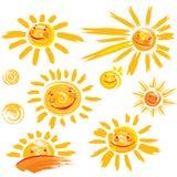 Комплект символов солнца с улыбкой Стоковые Фото