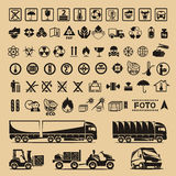 Комплект символов упаковки Иллюстрация вектора