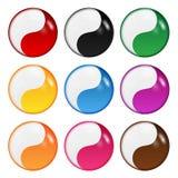 Комплект символов yin-yang Стоковая Фотография