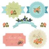 Комплект симпатичных флористических значков, ярлыков и значков карточка 2007 приветствуя счастливое Новый Год В Стоковые Изображения