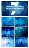 комплект 7 синей полигональной предпосылки стоковая фотография rf